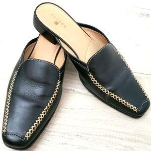 Pesaro Black Leather Closed Toe Mules  9M